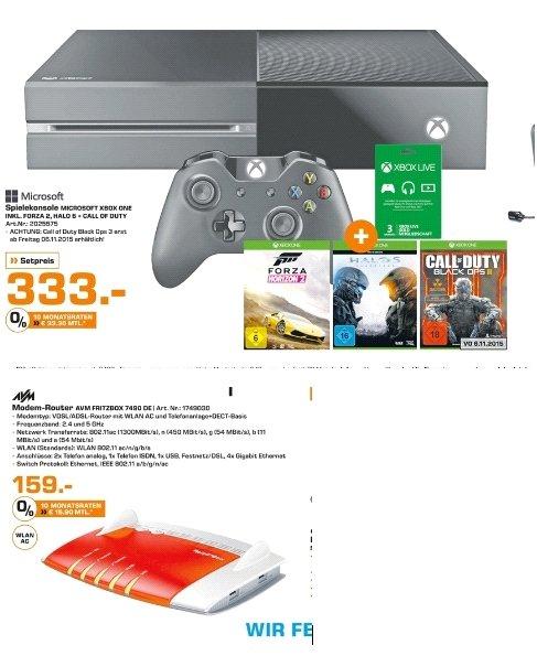 [Lokal Saturn Flensburg] Xbox One 500GB + Forza Horizon 2 & Halo 5 + COD Black Ops 3 + 3 Monate Live Gold für 333,-€****AVM FRITZBOX 7490 Wireless N Router/Modem 1300 Mbps 4-Port 100/1000 ADSL VDSL für 159,-€