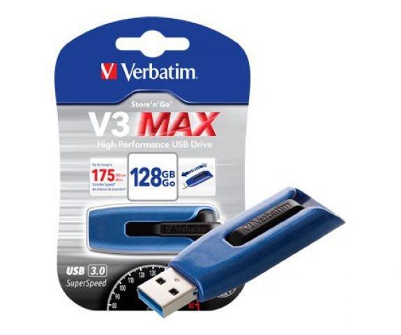 Verbatim 128GB V3 Max USB 3.0 Drive - Blue/Black - Lesen: 175 MB/s, Schreiben: 80 MB/s @Amazon