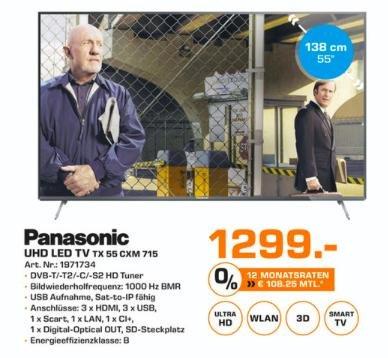 Saturn Oldenburg Panasonic UHD Led TV TX 55 CXM 715