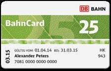 Bahncard für Studenten, Schüler, Azubis und Senioren. BC25 für 29 Euro. BC50 für 79 Euro