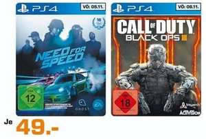 [Lokal Nürnberg Fürth] Saturn Märkte Need for Speed u. CoD Black Ops 3 PS4 ab 05.11.