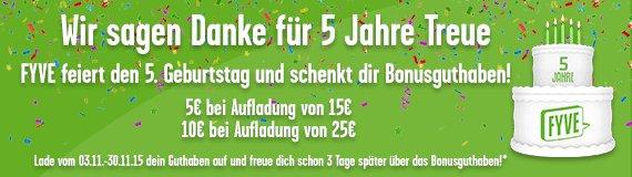 [Fyve Mobil] Zusätzliches Handy Guthaben für Aufladung 2x5€ für 15€ und 2x10€ für 25€