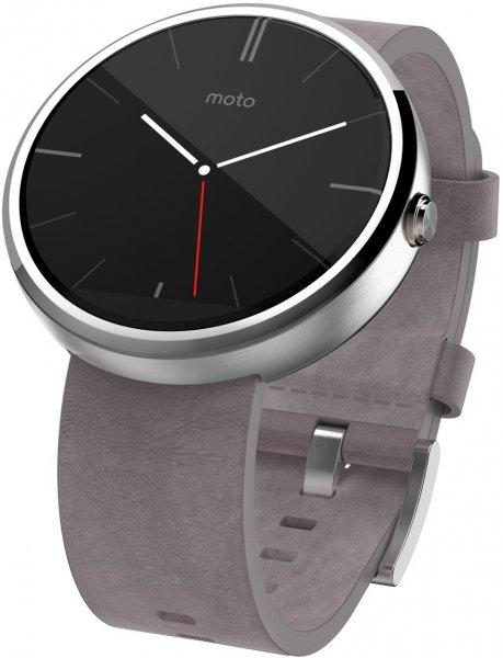 MOTOROLA Moto 360™ Smart Watch hell mit Lederarmband, Smart Watch, Chrome für 114 € @ Saturn Latenight Shopping *Wieder verfügbar*