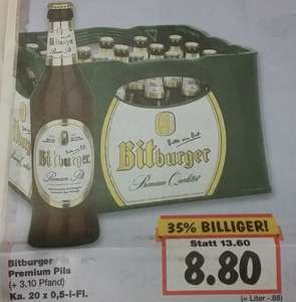 [Lokal Neuss] 20 x 0,5l Bitburger Pils
