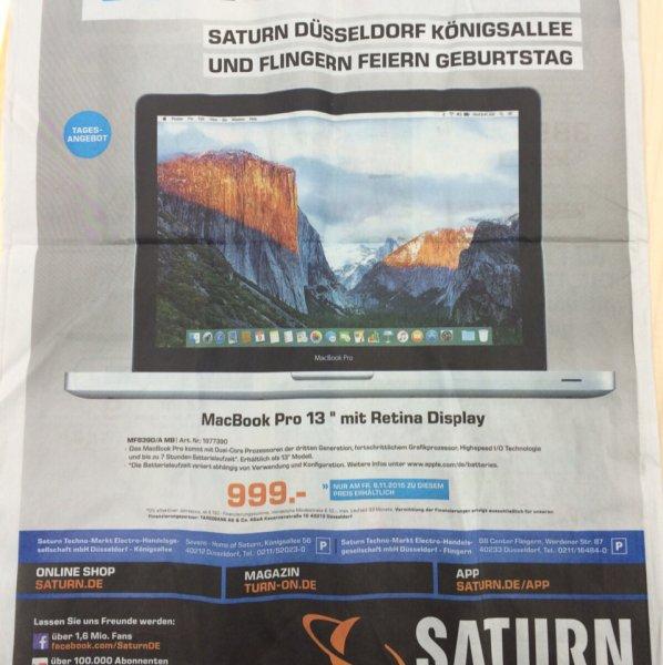 """[Saturn: Düsseldorf Kö] MacBook Pro Retina 13"""" 8GB/128GB SSD 999€ nur diesen Freitag"""