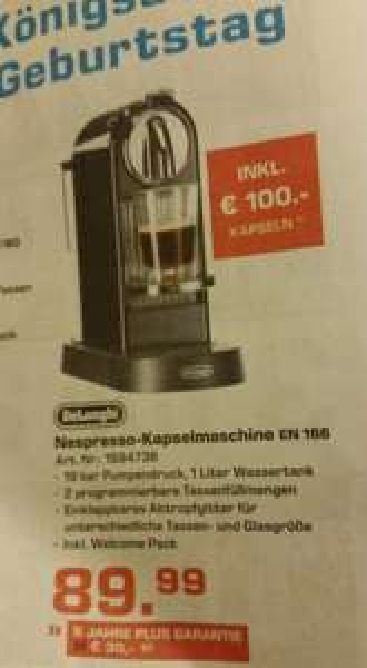 [Lokal Saturn D] Nespresso Kapselmaschine EN 166 inkl. Aktion Kapseln (100 Stck./EUR)