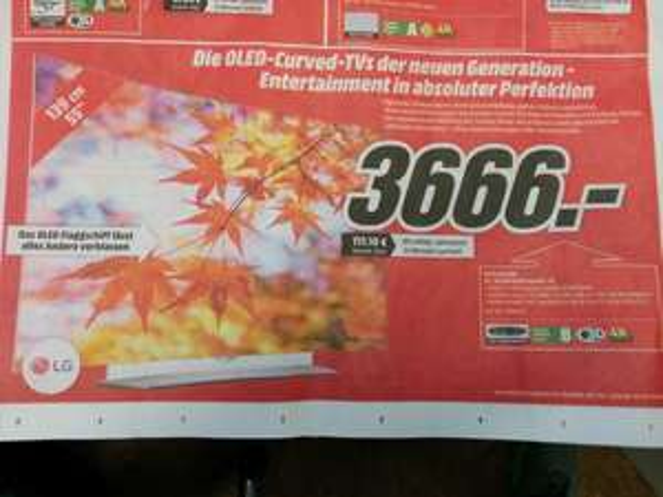 [Media Markt Dietzenbach] LG 55 EG 9609 OLED TV für 3666 Euro (0% Finanzierung möglich)