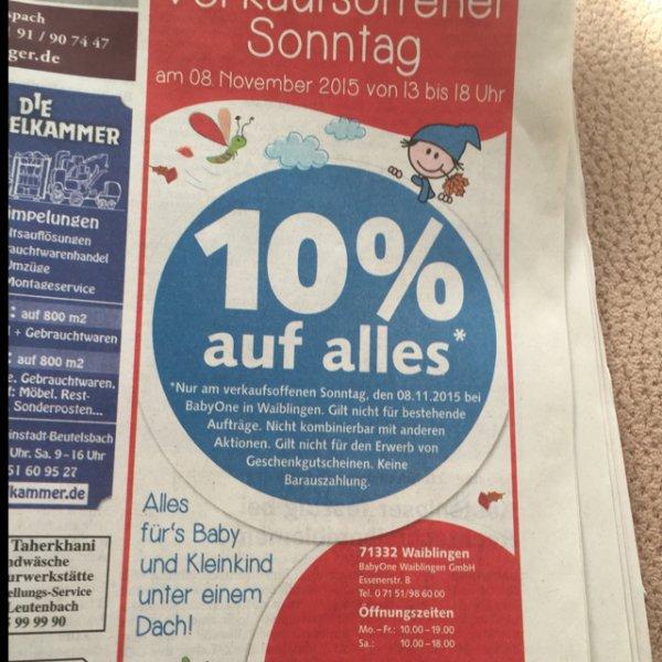 (Offline) 10% auf fast alles am Sonntag BabyOne  (Waiblingen und Leonberg )