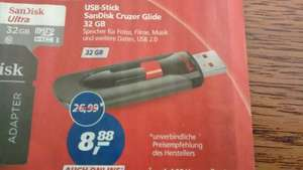 Sandisk Cruzer Glide 32GB 8,88€ @,-real