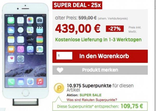 Apple iPhone 6 16 GB refurbished für 439 € effektiv 330€ bei Rakuten