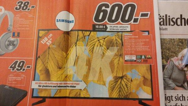 [Lokal]Samsung TV UE55JU6050 4K Ultra HD @ Media Markt Bielefeld für 600 Euro
