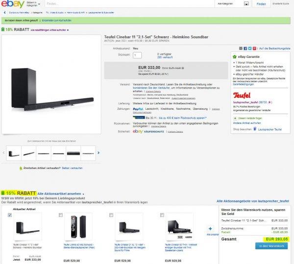 Teufel Cinebar11 2.1 Soundbar, 283,05€ bei ebay