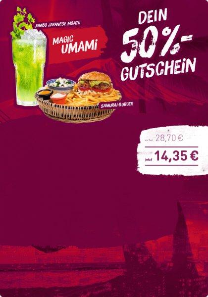 [SAUSALITOS] Magic Umami - Samurai Burger und Jumbo Japanese Mojito zum halben Preis