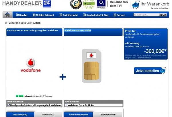 Vodafone 3GB LTE Surf-Flat (50 MBit/s) für 17,49€/Monat mit 300€ Auszahlung = rechnerisch 4,99 Euro/Monat