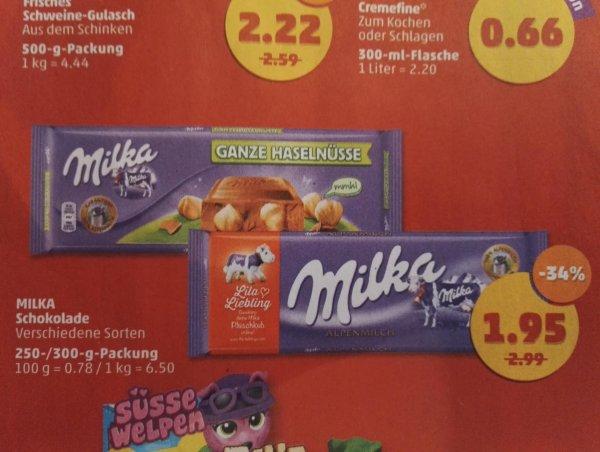 Framstag (13.11-14.11) Milka Schokoladentafeln 250g-300g  Angebotspreis:1,95€  -  50% Rabatt Coupon = 0,98€ @ Penny