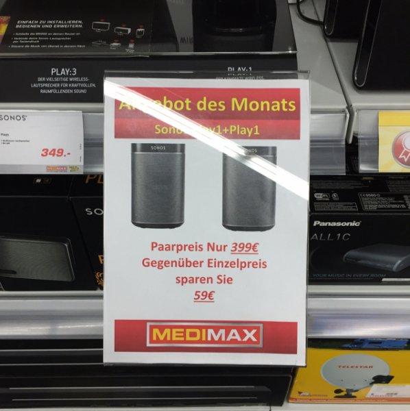 [Lokal Hamburg Bergedorf] 2x Sonos Play 1 im Medimax für 399€