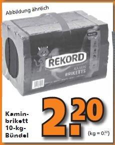 [Globus-Baumarkt] 10Kg Rekord Kamin-Briketts für 2,20 Euro.