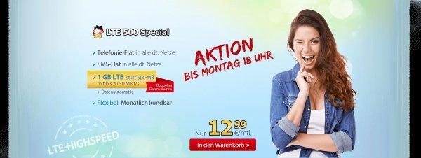 O2 DeutschlandSIM LTE 500 Special - 12,99 € mtl. einmalig 29,99€ mit 1GB statt 500MB