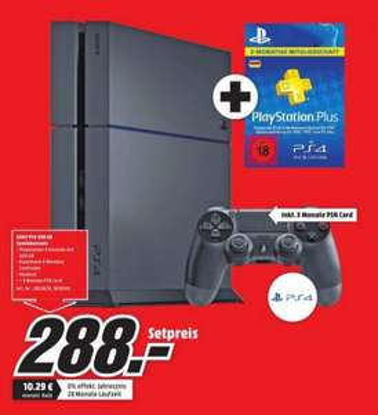 (Lokal) PS4 500GB Schwarz CUH-1200 + 3 Mon PSN Card für 288€ @ Mediamarkt Biefeld