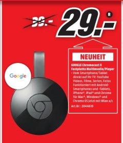 [Lokal Media Markt Rostock-Brinckmansdorf] Google Chromecast 2, Streaming-Mediaplayer, Wireless Lan, HDMI, USB für 29,-€