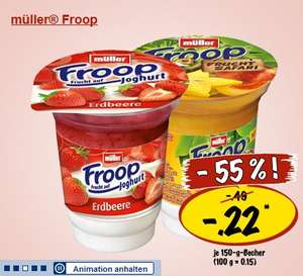 Froop Joghurt (150g. Becher) nur 0,22€ bei Lidl!
