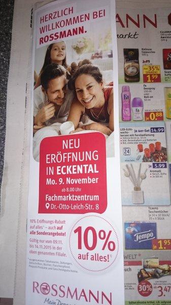 (lokal) 10% auf alles Neueröffnung Rossmann in 90542 Eckental