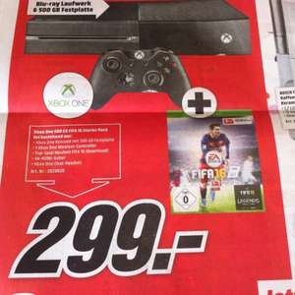 Xbox One 500GB + FIFA 16 299€ [Lokal MM Idar Oberstein]