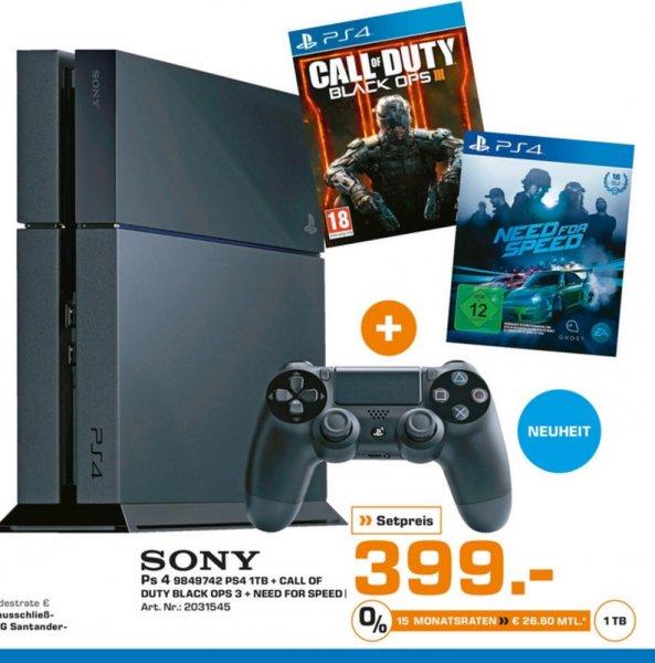 (Lokal) PS4 1TB+COD Black Ops 3+NFS für 399€ @ Saturn Aachen