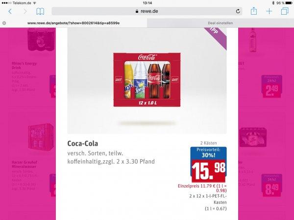 @Rewe (lokal?) 2 Kisten Coca Cola verschiedene Sorten - 0,67 €/L