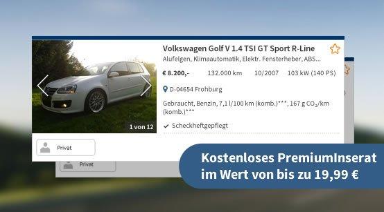 Kostenloses Premiuminserat bei Autoscout 24 (statt 19.99€)
