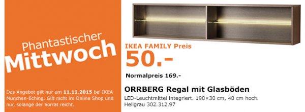 (Ikea München-Eching) Orrberg Regal mit Glasböden für 50€ statt 169€ nur am 11.11.15