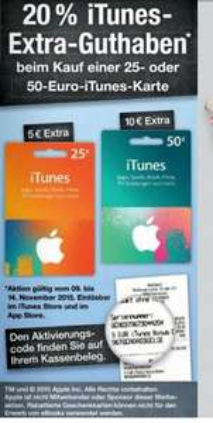 [Kaufland] itunes 20% Extra Guthaben auf 25€ oder 50€ Karten bis 14 November