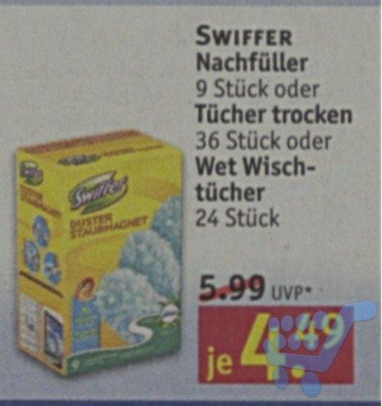 [Rossmann] Swiffer Staubmagnet Staubfang-Tücher Nachfüllpack 9 Stück für 3,14 Euro (Angebot + Coupon)