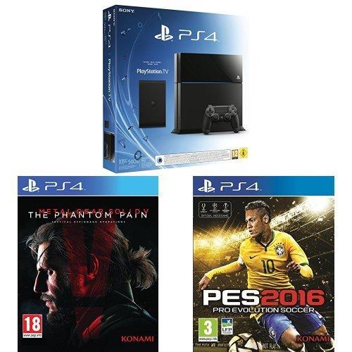 Sony PlayStation 4 (PS4) 500GB + PlayStation TV + Metal Gear Solid V + PES 2016 inkl. Vsk für 384,50 € > [amazon.fr]