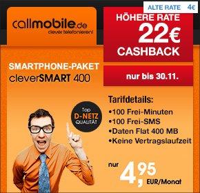 [Qipu] callmobile cleverSMART 400 – 100 Freiminuten, 100 SMS sowie 400 MB im D2 Netz für 4,95€, monatlich kündbar+ 22€ Cashback