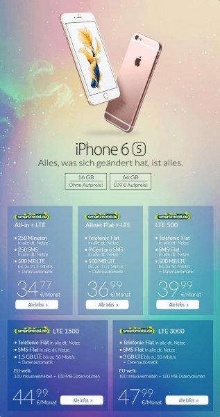 smartmobil.de Allnet Flat + LTE - 36,99 € monatlich  | Telefon Flat | 500mb bei 21,1mbit LTE + Iphone 6S für 0,00 Euro + Anschlussgebühr 29,99