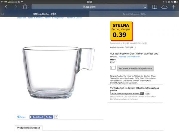 (Ikea offline) Kleine Kaffeetasse Stelna 0,39€