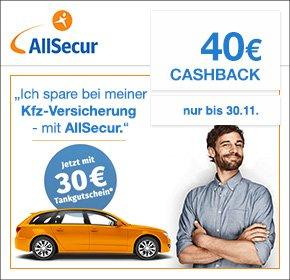 AllSecur: 40€ Cashback + 30€ Tankgutschein nur für kurze Zeit