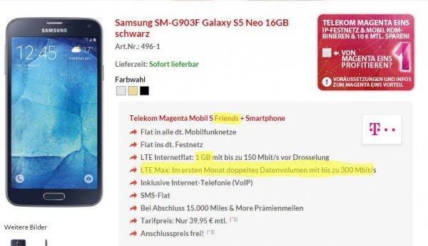 [PB] Telekom Magenta Mobil S (Friends): Galaxy S5 Neo  in Kombination mit Trade-In und Meilen für bestenfalls  effektiv 3,78€ pro Monat
