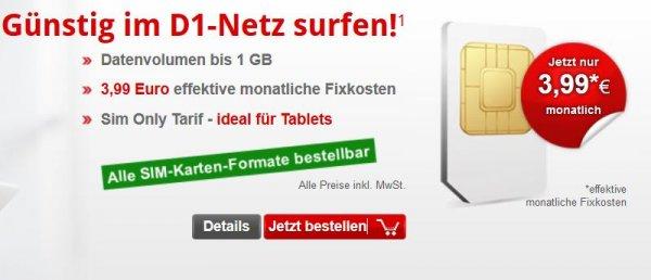 1GB-Datentarif bis 7,2 Mb/s Telekom D1-Netz [mobilcom-debitel] für effektiv 3,99€/Monat kein LTE