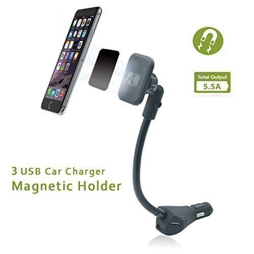 KFZ Halterung, magnetisch, 3fach-USB-Ladegerät für Smartphones
