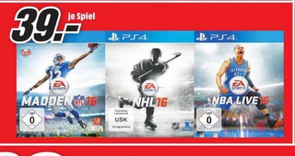 (Lokal) PS4 Games = Madden NFL16,NHL16,NBA Live16 für 39€ @ Mediamarkt Wuppertal