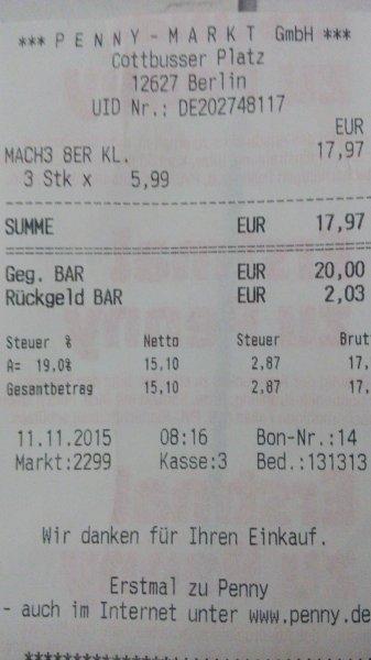 Lokal Gillette Mach 3 8er Klingen mit Handstück bei Penny in Berlin Hellersdorf