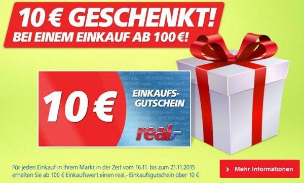Im Real für 100€ einkaufen und 10€ Gutschein erhalten (16.11. - 21.11.)