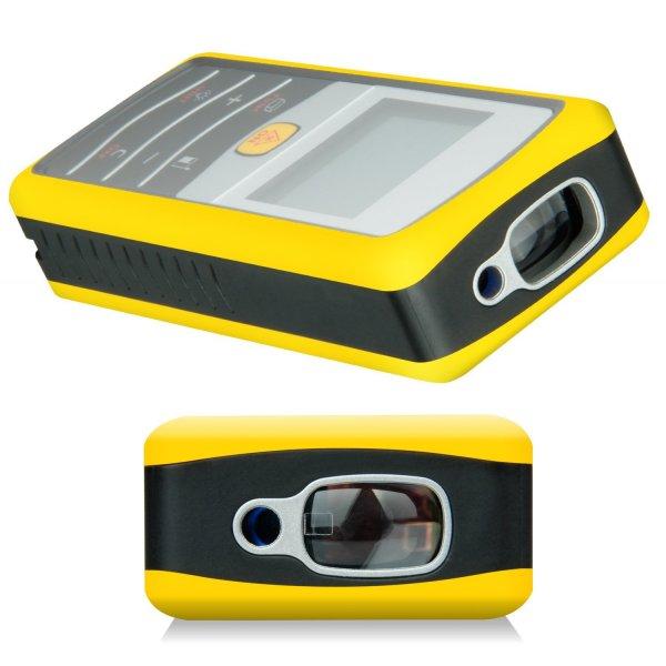 Amazon: Etekcity Professional Digital Laser Entfernungsmesser 0,05-50m Messbereich +/- 2mm Messgenauigkeit, Schutztasche, LCD Hintergrundbeleuchtung, Inkl. Batterie, Gelb
