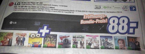 [DARMSTADT/BAD KREUZNACH/HOFHEIM-WALLAU/RAUNHEIM/NASTÄTTEN] Expert Klein: LG 3D Blu-ray Player BP-450 inkl. 10 Blu-ray Filme für 88€