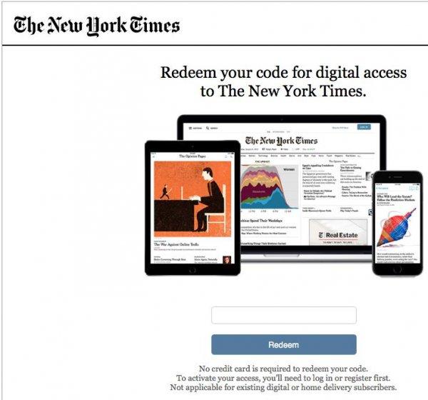 [NYT digital] New York Times 8 Wochen sorgenfrei und anonym digital lesen. Wert ca. 22$. Sorgenfreier, anonymer Account ohne Angaben von Kontodaten.