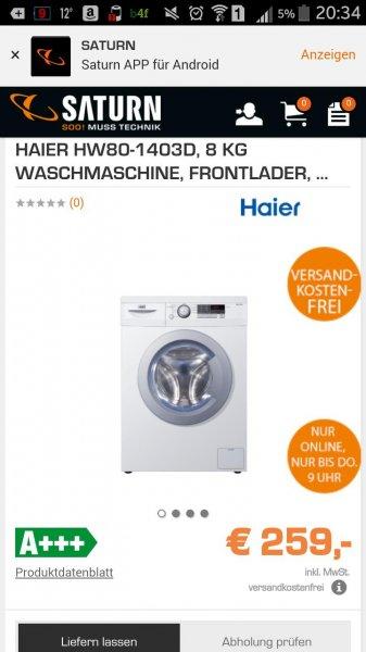 Saturn Late Night Shopping Waschmaschine Haier HW80-1403D, 8 KG A+++ 1400 U/Min