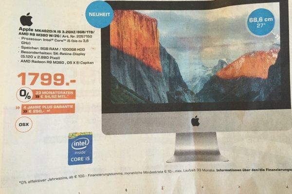 "[Lokal Saturn BO/HAT/WIT] iMac 27"" (MK462D/A) für 1.799€"
