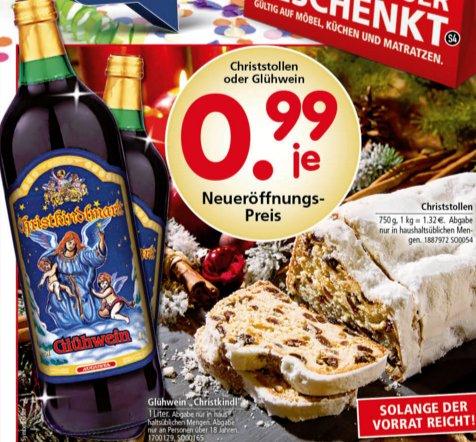 [SEGMÜLLER] Christstollen 750g oder Glühwein 1,0l für 0,99€